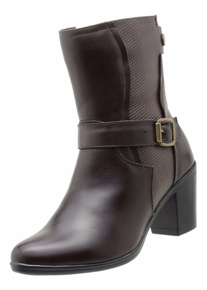 Bota Feminina Cano Curto Dududias Ankle Boot Couro -