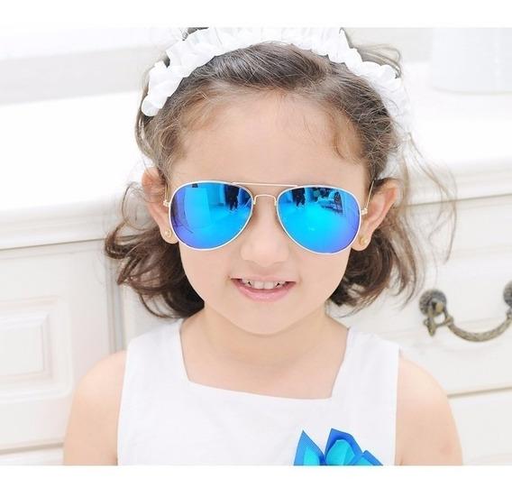 Óculos Sol Modelo Aviador Infantil Azul Espelhado Crianças