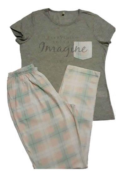 Pijama Feminino Adulto Calça Longo Camiseta Com Bolso Outono