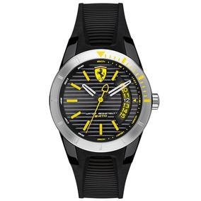 Relógio Ferrari Em Preto E Amarelo Original 0840015