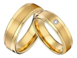 Par Argollas De Matrimonio Boda En Plata Y Baño De Oro 046