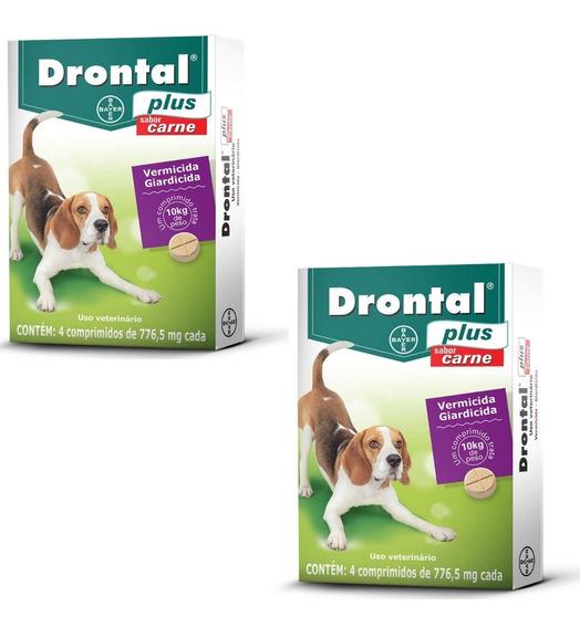 Kit C/ 2 Caixas Drontal Plus Carne Cães 10kg 4 Comp. Bayer