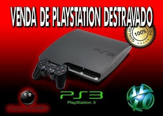 Playstation 3 Com Garantia De 01 Ano Lotado De Jogos No Hd.