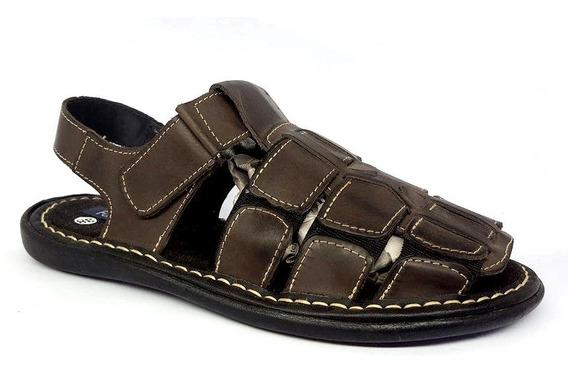 Kit 2 Sandálias Masculina 100% Couro Shoes