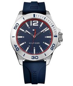 Relógio Tommy Hilfiger Pulseira Silicone Azul 45mm