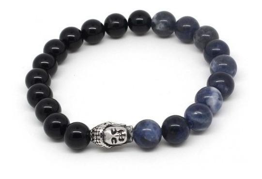 Pulseiras Masculinas De Pedras Naturais Ágata Negra E Azul