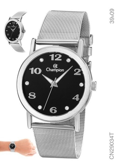 Relógio Feminino Prata Champion Fundo Preto Cn29034t