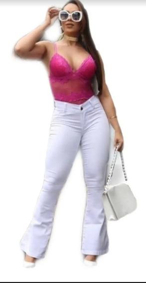 Calça Jeans Branca Flare Feminina Cintura Alta Cos Alto Empi