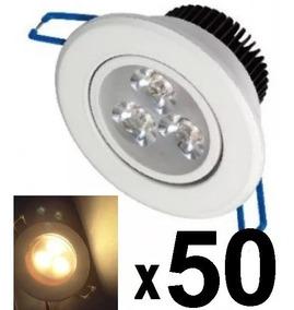 50 Spot Led Branco Luz Quente Direcionável 3w Sanca Gesso