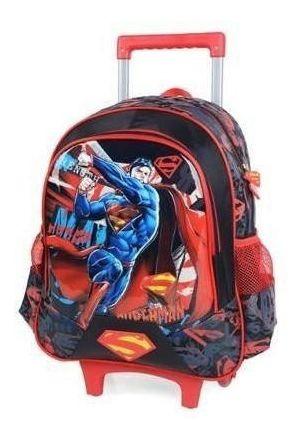 Mochila Infantil Rodinha Ic32212s Luxcel Superman