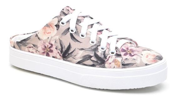 Tênis Mule Floral Feminino Babuche Flatform Rosa
