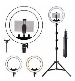 Ring Light Completo Iluminador Portátil 26cm Com Tripé 1.6m