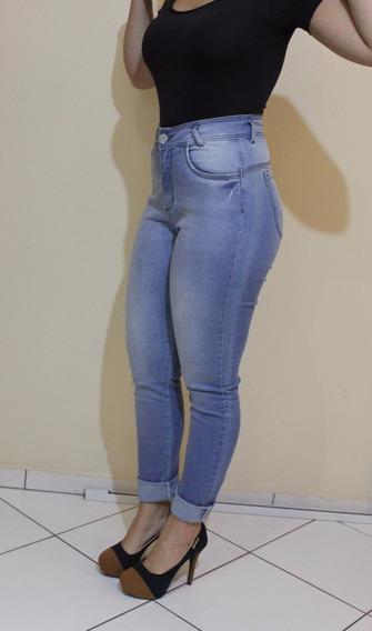Look Verão Calça Jeans + 1 Blusa + Anabela + Carteira Bege