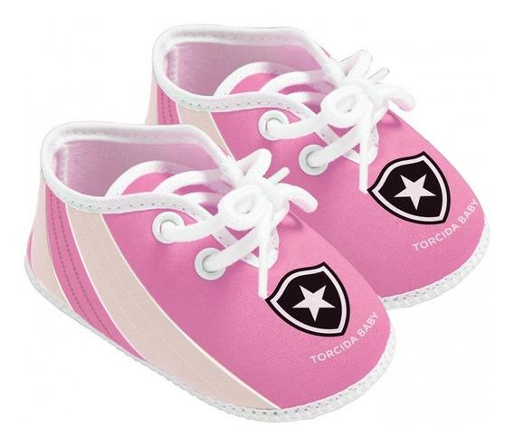 Chuteira Bebê Botafogo Rosa Oficial Torcida Baby
