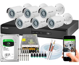Kit 6 Câmeras Cftv Hikvision Full Hd 1080p Dvr 8 Canais 10a