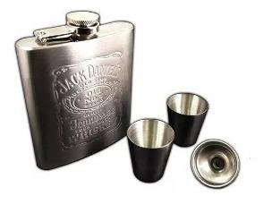 Petaca De Acero Set Caja Vasos Embudo Whisky Jack Daniels