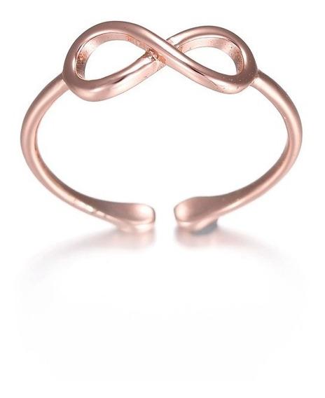 Clássico Infinito Nó Anéis Ouro Rose Anel Prata Simples Casu