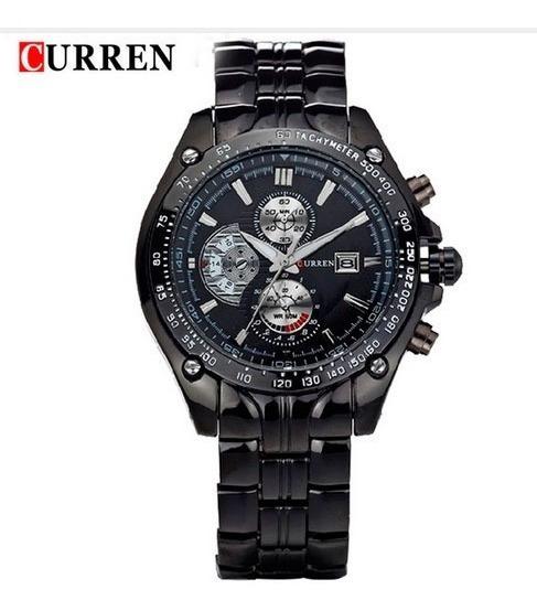 Relógio Curren Preto M8083 Digital Quartz Aço Inox Com Caixa