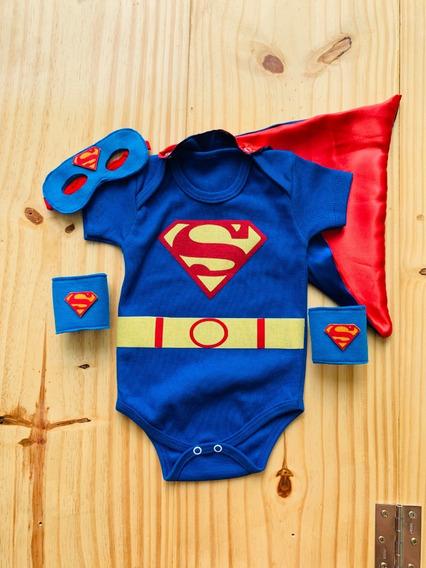 Body Super Homem Bebê Superman Capa Máscara Mesversário