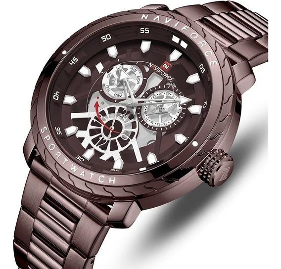 Relógio Masculino Naviforce Luxo Café Esportivo Nf9158