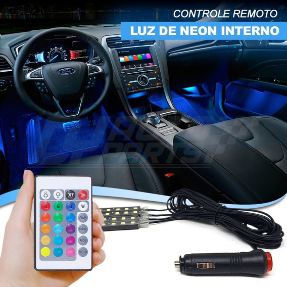 Luz Led Neon Interno Automotivo 7 Cores Tuning Com Controle