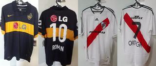 Camisa Boca Juniors E River Plate Riquelme E Ortega Original