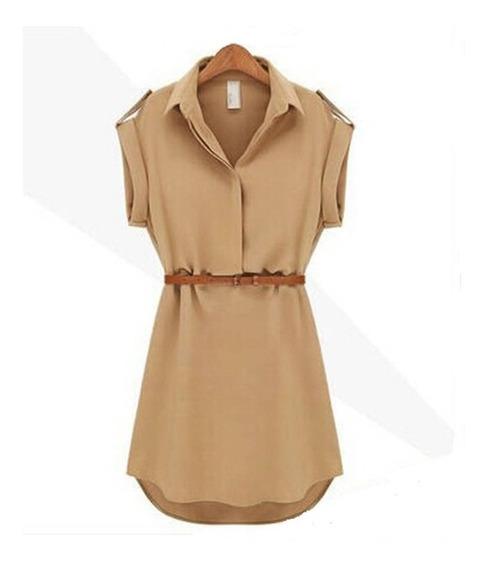 Vestidos Casuales Falda Camisa Suelta Con Cinturón