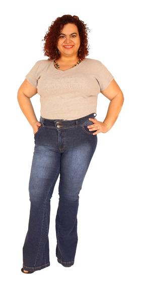 Calça Flare Zendaia Jeans Azul Stone Do 46 Ao 60 - Plus Size