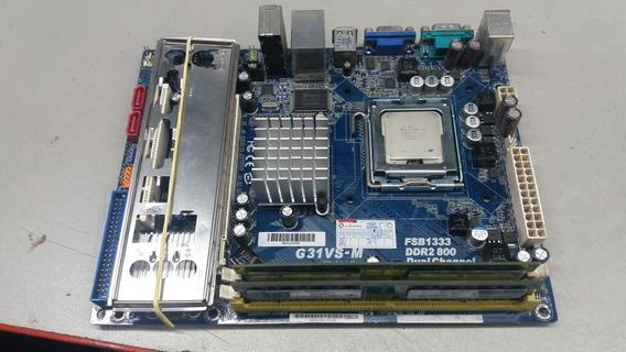 Placa Mae Kit 775 De 2g +um Core 2 Duo 6400 Com Espelho