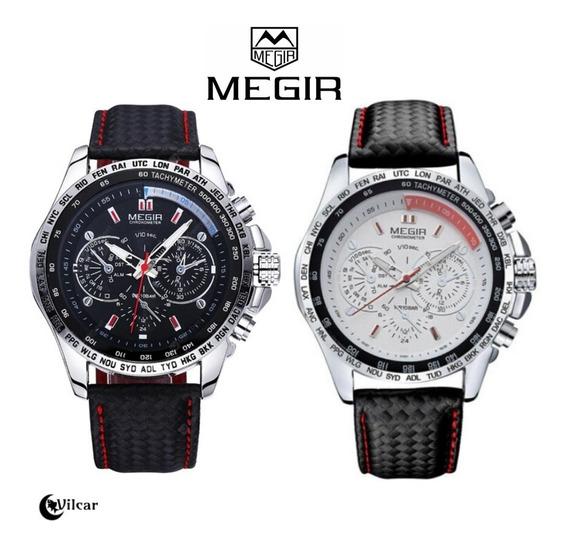 Relógio Masculino Megir 1010 Quartz - Pulseira De Couro!