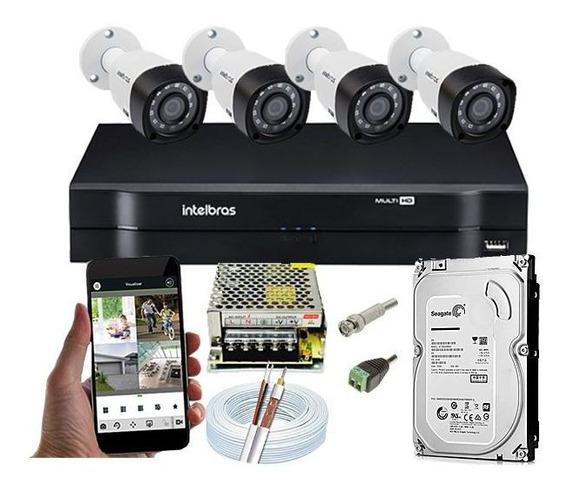Kit Segurança Dvr Intelbras 4 Ch 4 Câmeras Vhd 1010 Hd 500gb