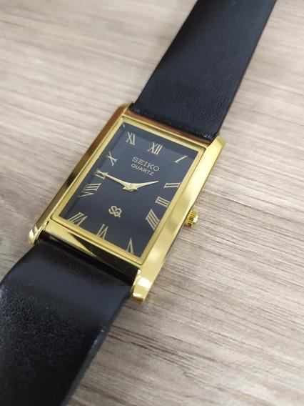 Reloj Seiko Chapa De Oro 14k Esfera Negra
