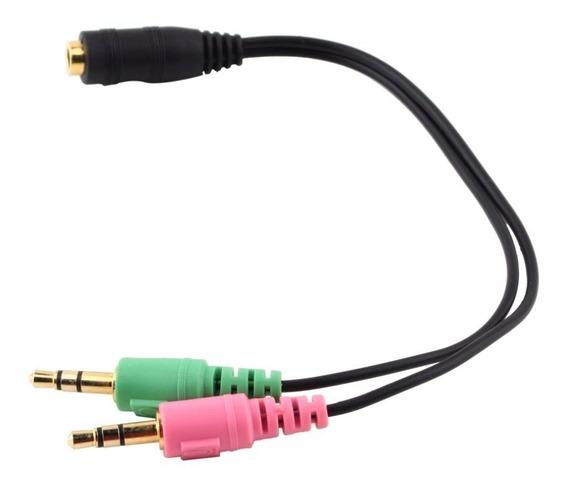 Adaptador Divisor P3 Fêmea Para 2 P2 Macho Áudio Pc Notebook