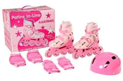 Imagem 1 de 4 de Patins Roller In-line Rosa 34 A 41 Menina + Acessorios