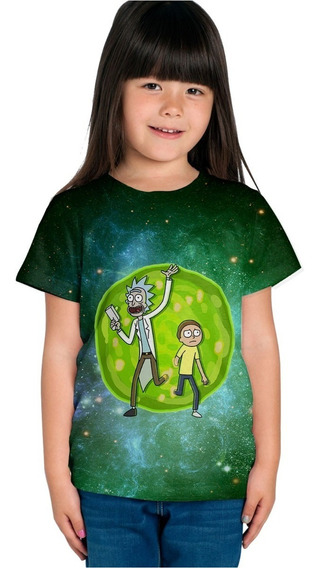 Playera Sublimada Full Print Niño Niña Rick And Morty