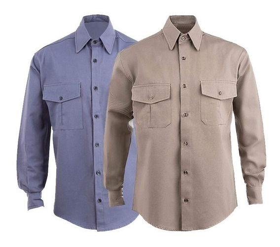 Camisa De Trabajo Beige Azulino Oferta X Unidad Tipo Grafa
