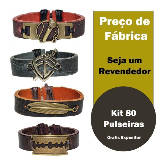Bijuteria Atacado C/80 Pulseiras Bracelete Couro Legítimo