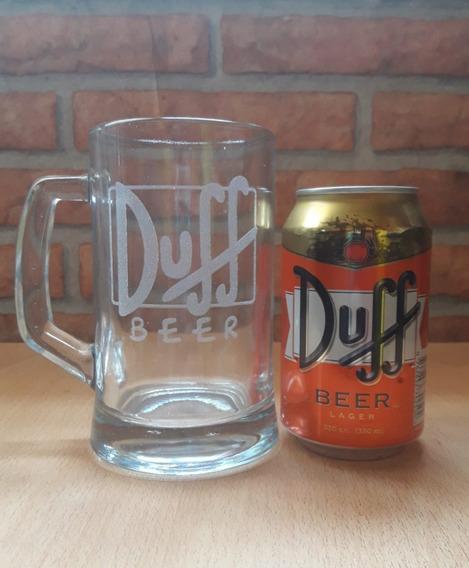 4 Latas Duff Originales + 2 Vasos Chop De Los Simpsons