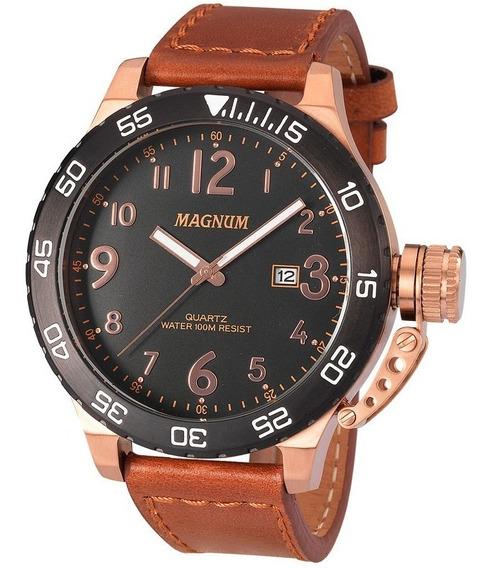 Relógio Magnum Masculino Bronze Couro Marrom Ma33700p