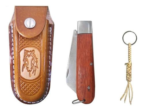Kit Bainha De Canivete Couro Mais Canivete Super Oferta