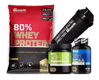 Whey Growth 80%+bcaa+creatina+coqueteleira