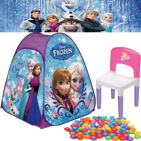 Barraca Com Bolinhas Frozen Menina Infantil Dobrável Cadeira