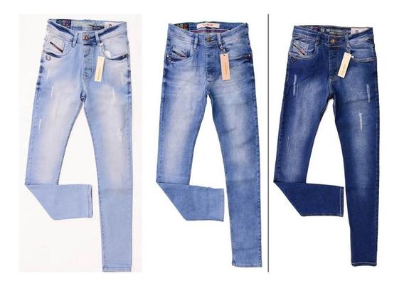 Kit C/ 3 Unidades Calças Jeans Masculinas Diesel Original Slim Fit C/ Stretch