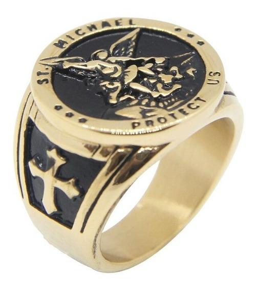 Anel São Miguel Arcanjo Aço Dourado 316l