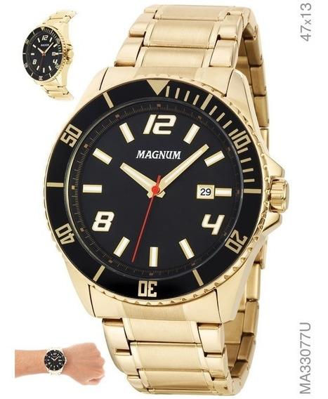 Relógio Masculino Em Aço Magnum Ma33077u Dourado