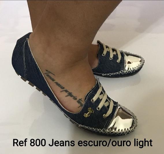 Mocatênis Mocassim Feminino Divas Club Jeans/ouro Mulher