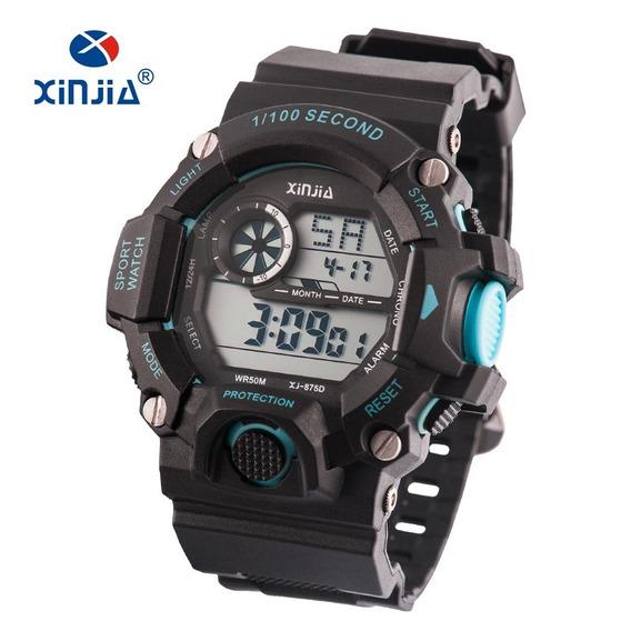 Relógio Masculino Barato Preto C/ Azul Xj-875d