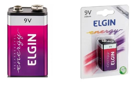 Bateria Recarregável 9v 250 Mah Elgin Novo