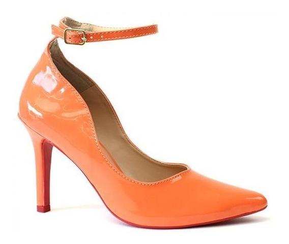 Scarpin Sapato Feminino C/ Tira / Sola Vermelha