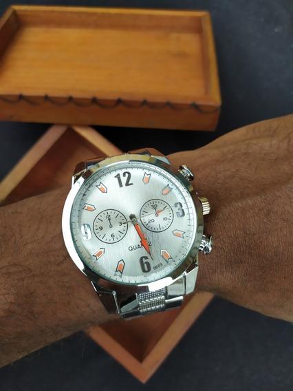 Relógio Masculino De Pulso Prata De Luxo